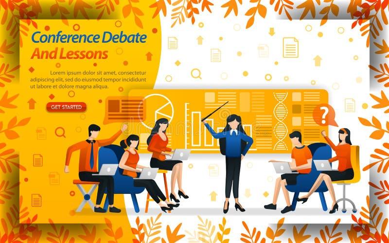 Συζήτηση και μαθήματα διασκέψεων οι γυναίκες που διδάσκουν την επιχείρηση και οι σπουδαστές συζητούν, διανυσματικό ilustration έν διανυσματική απεικόνιση