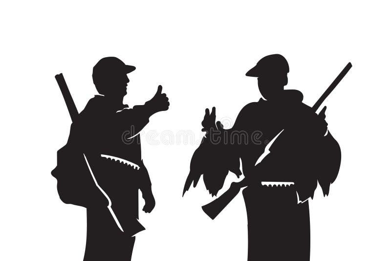 Συζητήστε το θήραμα κυνηγών Το άτομο παρουσιάζει δάχτυλο Οι χαρακτήρες καυχώνται των τροπαίων τους Πυροβοληθείσες πάπιες Εποχή κυ διανυσματική απεικόνιση