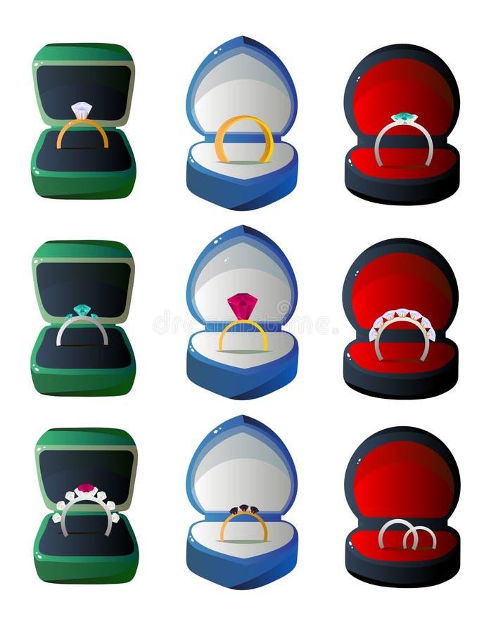 Συλλογή ανοιγμένων των βελούδο κιβωτίων δώρων με τα δαχτυλίδια, περιπτώσεις κοσμήματος των διάφορων μορφών και διανυσματική απεικ ελεύθερη απεικόνιση δικαιώματος