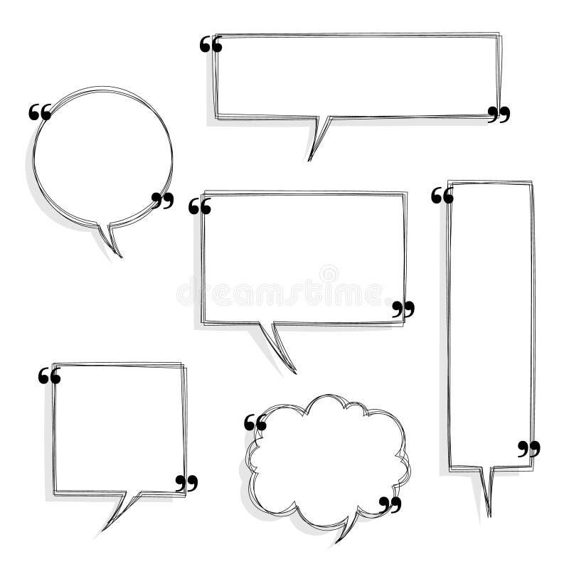 Συλλογή από ασπρόμαυρο χέρι με ένα κενό εισαγωγικό πλαίσιο λόγου, σκέψη, ομιλία, ομιλία, πλαίσιο πλαισίου πλαισίου πλαισίου κειμέ διανυσματική απεικόνιση