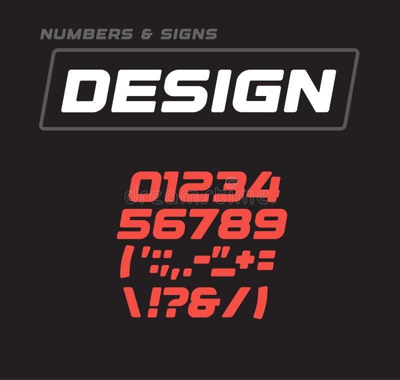 Συλλογή αριθμών και σημαδιών Κυρτός τολμηρός γεωμετρικός η προσθήκη αλφάβητου, γεωμετρικό σχέδιο Διανυσματική πηγή αθλητικών παιχ ελεύθερη απεικόνιση δικαιώματος