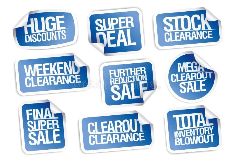 Συλλογή αυτοκόλλητων ετικεττών πώλησης - τεράστιες εκπτώσεις, έξοχη διαπραγμάτευση, εκκαθάριση διανυσματική απεικόνιση