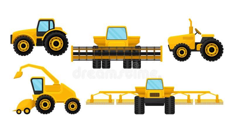 Συλλογή Βαρέων Γεωργικών Μηχανημάτων, Γεωργικά Οχήματα για Γήπεδα, Τρακτέρ, Διάνυσμα Εργασίας Συνδυασμού και Συγκομιδής διανυσματική απεικόνιση