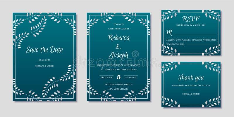 Συλλογή γαμήλιας πρόσκλησης με εκτός από τα διανυσματικά πρότυπα ημερομηνίας και rsvp καρτών διανυσματική απεικόνιση