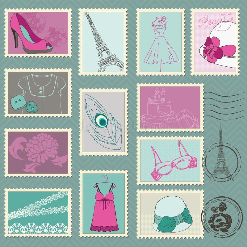 Συλλογή γραμματοσήμων μόδας απεικόνιση αποθεμάτων
