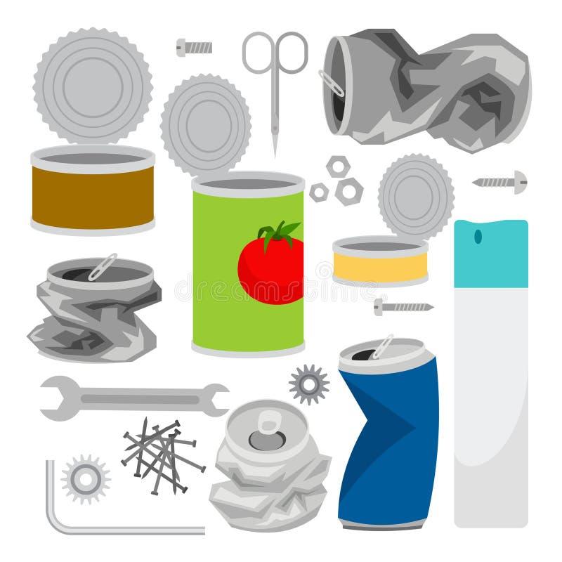 Συλλογή εικονιδίων απορριμμάτων μετάλλων απεικόνιση αποθεμάτων