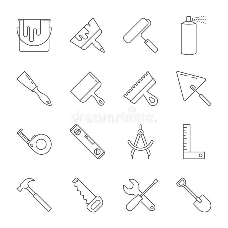 Συλλογή εικονιδίων εργαλείων κατασκευής - διανυσματική απεικόνιση o απεικόνιση αποθεμάτων