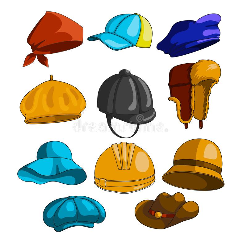 Συλλογή εικονιδίων καπέλων διανυσματική απεικόνιση