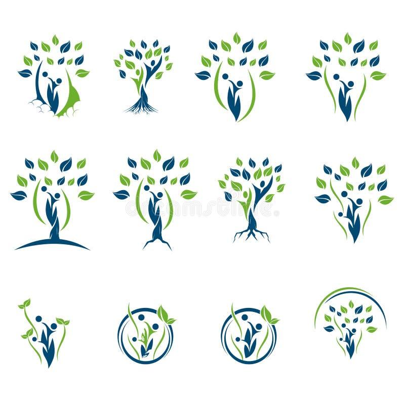 Συλλογή εικονιδίων λογότυπων δέντρων πράσινων εγκαταστάσεων στοκ εικόνα