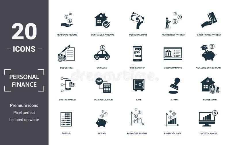 Συλλογή εικονιδίων προσωπικών οικονομικών Περιλαμβάνει απλά στοιχεία, όπως προσωπικό εισόδημα, έγκριση υποθήκης, προσωπικά διανυσματική απεικόνιση