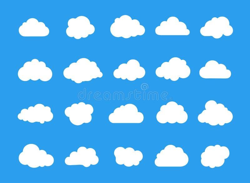 Συλλογή εικονιδίων τέχνης γραμμών σύννεφων Στοιχείο λύσης αποθήκευσης, δικτύωση, σύννεφο και έννοια μετεωρολογίας διάνυσμα ελεύθερη απεικόνιση δικαιώματος
