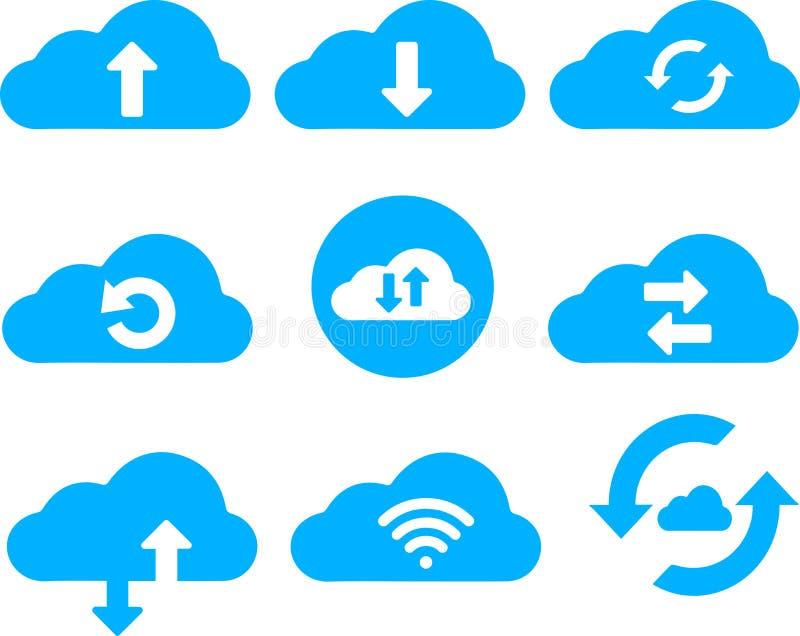 Συλλογή εικονιδίων τέχνης συνδετήρων υπηρεσιών σύννεφων διανυσματική απεικόνιση