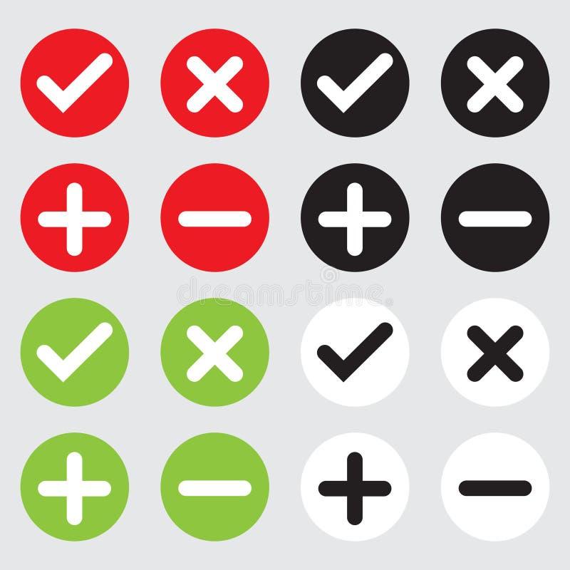 Συλλογή εικονιδίων του συν-διαγώνιος-μείον και των σωστών κουμπιών εικονιδίων ελεύθερη απεικόνιση δικαιώματος