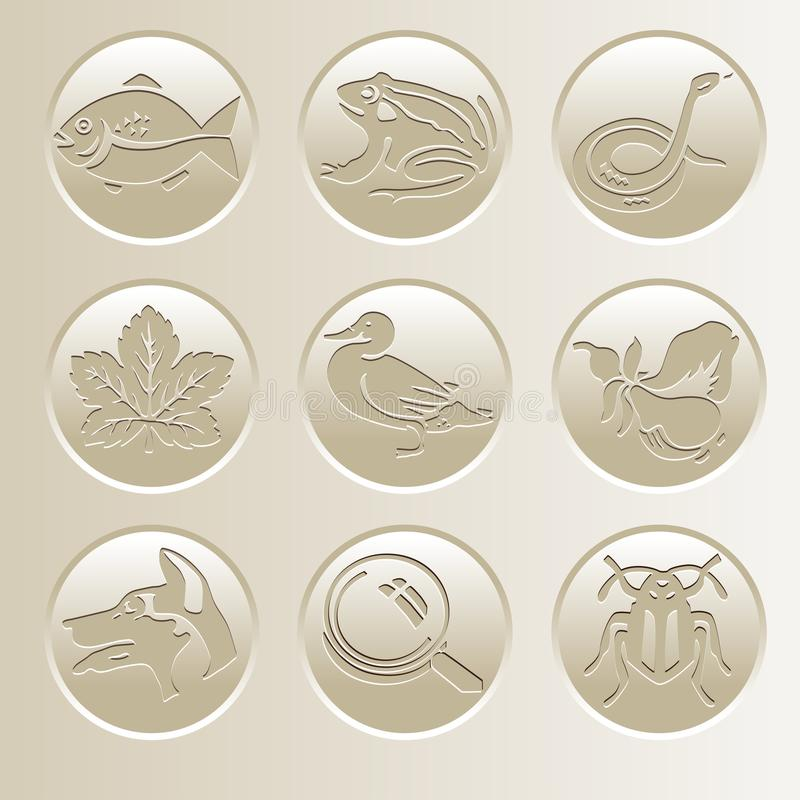 Συλλογή εικονιδίων φύσης Εικονίδια με ένα ψάρι, ένας βάτραχος, ένα φίδι, μια πάπια, ένα σκυλί, ένας κάνθαρος, ένα φύλλο, μια ενίσ απεικόνιση αποθεμάτων