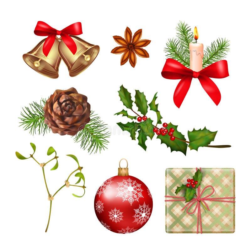 Συλλογή εικονιδίων Χριστουγέννων απεικόνιση αποθεμάτων