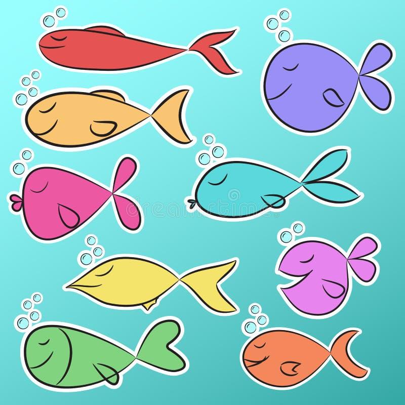 Συλλογή εννέα έτοιμων να χρησιμοποιήσουν τις φωτεινές αυτοκόλλητες ετικέττες με τα χαριτωμένα ζωηρόχρωμα ψάρια απεικόνιση αποθεμάτων