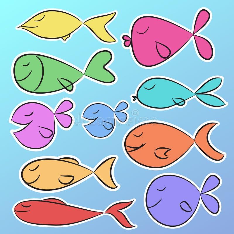 Συλλογή εννέα έτοιμων να χρησιμοποιήσουν τις φωτεινές αυτοκόλλητες ετικέττες με τα χαριτωμένα ζωηρόχρωμα ψάρια ελεύθερη απεικόνιση δικαιώματος