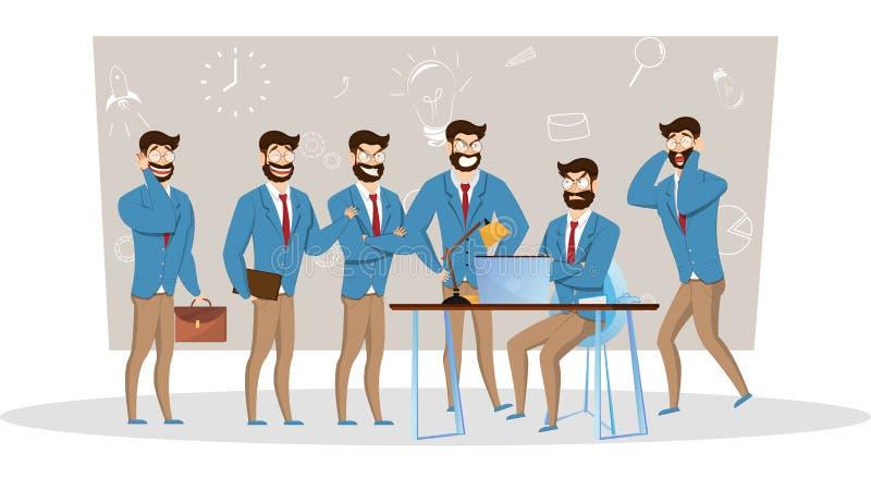 Συλλογή επιχειρηματιών Γενειοφόροι γοητευτικοί επιχειρηματίες στη διαφορετική κατάσταση ελεύθερη απεικόνιση δικαιώματος