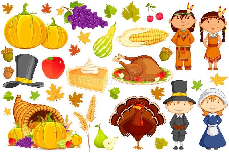 Συλλογή ημέρας των ευχαριστιών ελεύθερη απεικόνιση δικαιώματος
