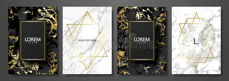 Συλλογή καρτών πολυτέλειας με τη μαρμάρινη σύσταση και τη χρυσή γεωμετρική μορφή Διανυσματικό καθιερώνον τη μόδα υπόβαθρο Σύγχρον διανυσματική απεικόνιση