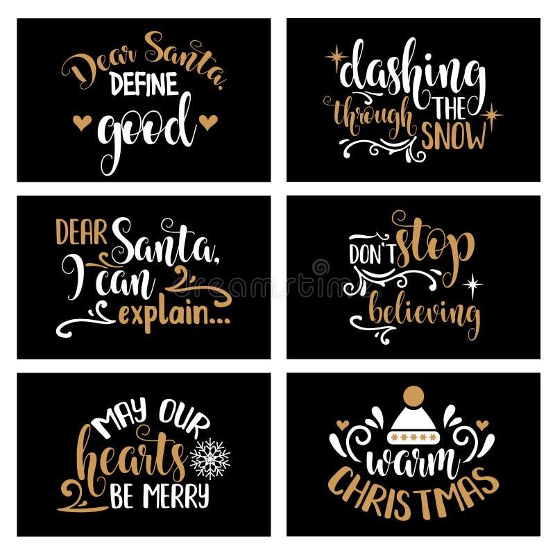 Συλλογή καρτών Χριστουγέννων εγγραφής χεριών με τα χαρούμενα αποσπάσματα ελεύθερη απεικόνιση δικαιώματος