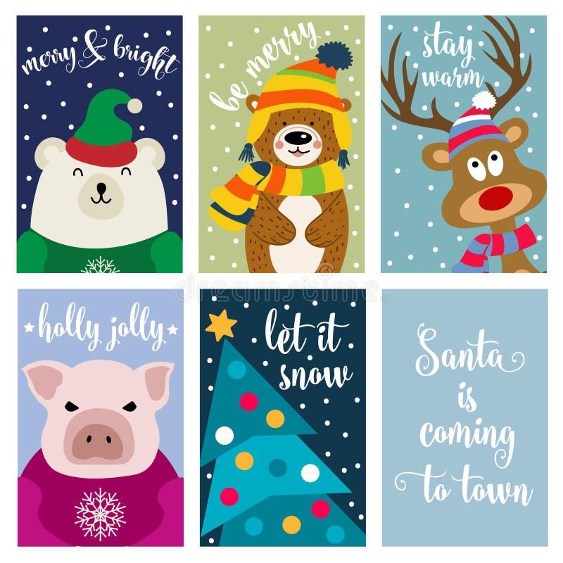 Συλλογή καρτών Χριστουγέννων με τα ζώα και τις επιθυμίες διανυσματική απεικόνιση
