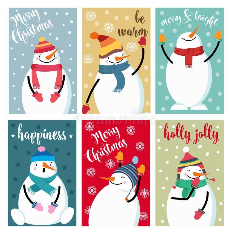 Συλλογή καρτών Χριστουγέννων με το χιονάνθρωπο και τις επιθυμίες διανυσματική απεικόνιση