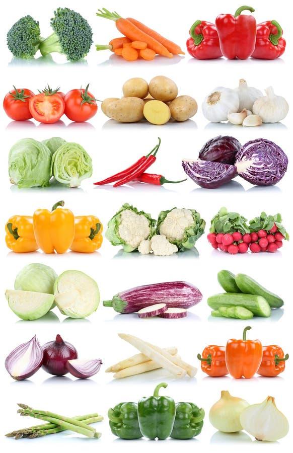 Συλλογή καρότων esparagus πιπεριών κουδουνιών μαρουλιού ντοματών λαχανικών που απομονώνεται στοκ εικόνες με δικαίωμα ελεύθερης χρήσης