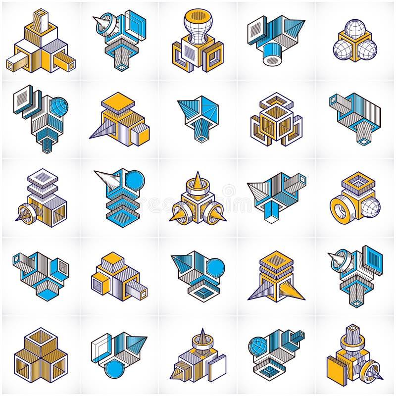 Συλλογή κατασκευών εφαρμοσμένης μηχανικής, αφηρημένα διανύσματα καθορισμένα απεικόνιση αποθεμάτων