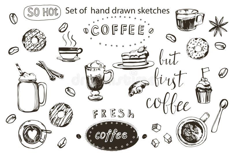 Συλλογή καφέ, συρμένη χέρι απεικόνιση επίσης corel σύρετε το διάνυσμα απεικόνισης ελεύθερη απεικόνιση δικαιώματος