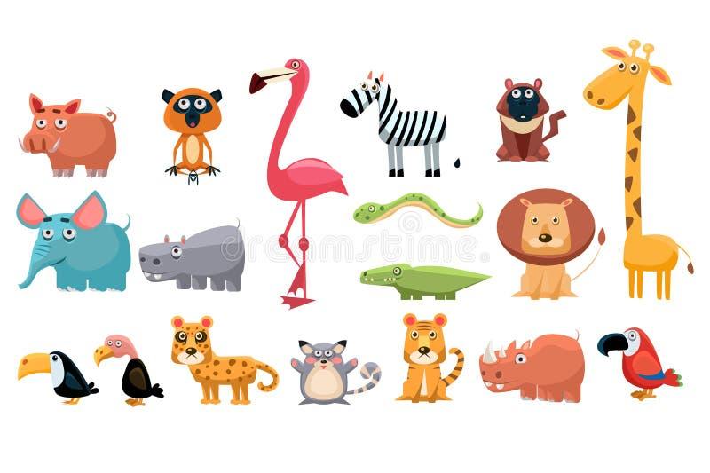 Συλλογή κινούμενων σχεδίων των αστείων ζώων Τα ζωηρόχρωμα στοιχεία για τα παιδιά s κρατούν, κάρτα εκπαίδευσης, κινητή παιχνίδι ή  ελεύθερη απεικόνιση δικαιώματος