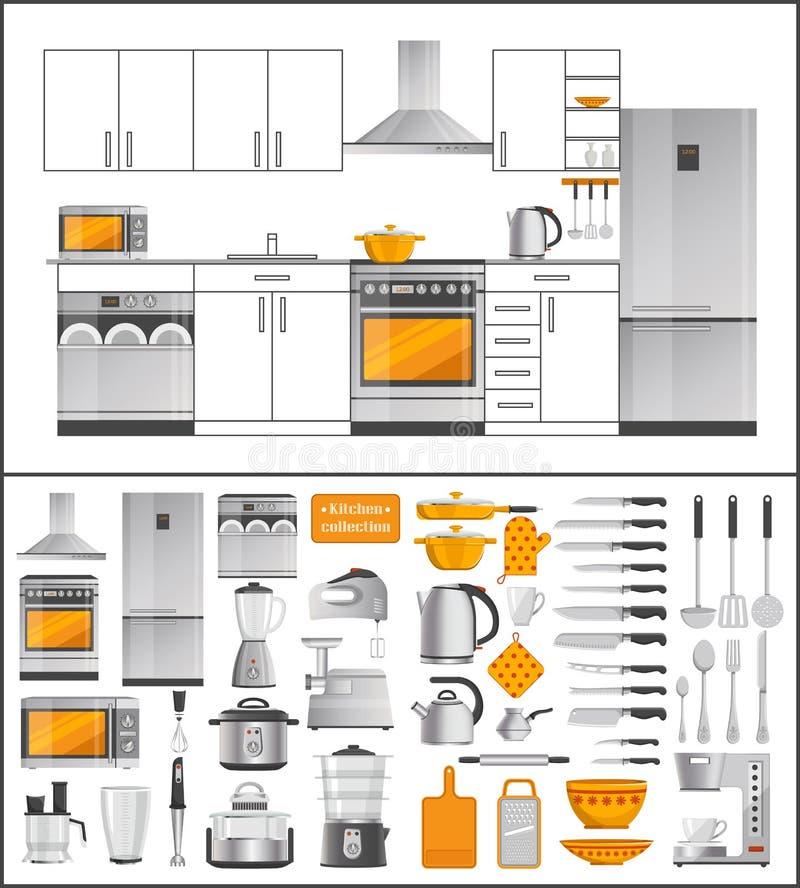 Συλλογή κουζινών των συσκευών και του σκεύους για την κουζίνα διανυσματική απεικόνιση