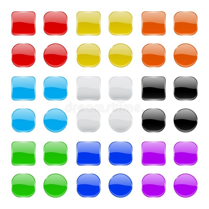 Συλλογή κουμπιών γυαλιού Λαμπρά γεωμετρικά χρωματισμένα τρισδιάστατα εικονίδια ελεύθερη απεικόνιση δικαιώματος