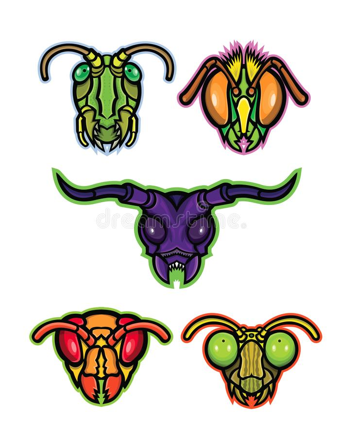 Συλλογή μασκότ εντόμων διανυσματική απεικόνιση