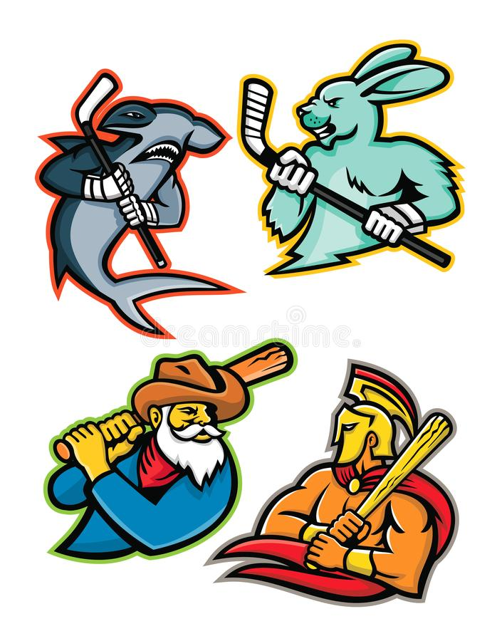 Συλλογή μασκότ ομάδας χόκεϊ μπέιζ-μπώλ και πάγου ελεύθερη απεικόνιση δικαιώματος