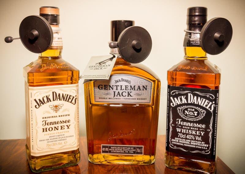 Συλλογή μπουκαλιών του Jack Daniels στοκ φωτογραφία