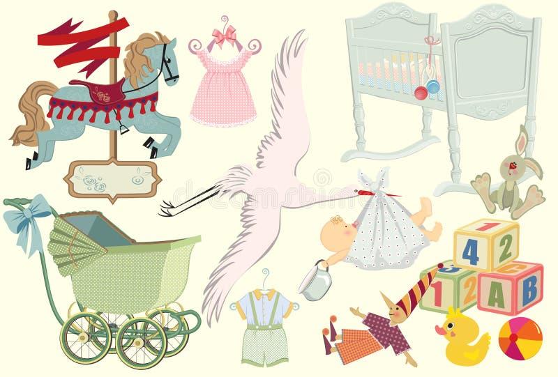 συλλογή μωρών αναδρομική ελεύθερη απεικόνιση δικαιώματος