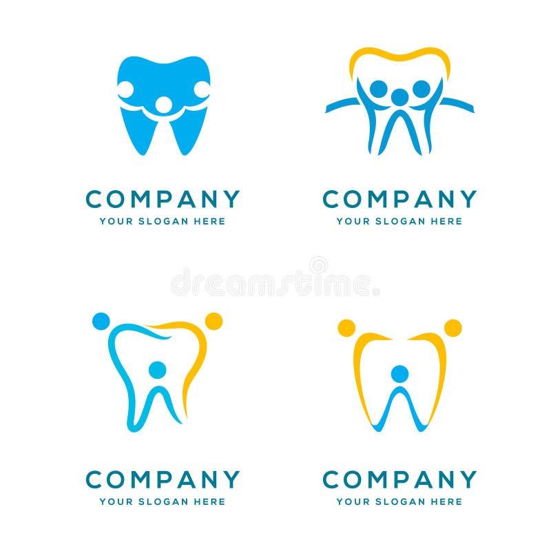Συλλογή οικογενειακών οδοντική λογότυπων διανυσματική απεικόνιση