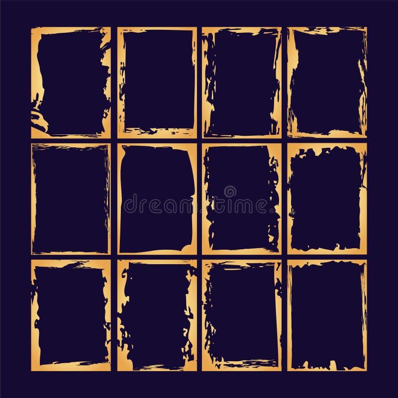 Συλλογή πλαισίων με υφή χρυσού γρανάζιου Πρότυπο σχεδίασης με ράστερ διανύσματος ελεύθερη απεικόνιση δικαιώματος