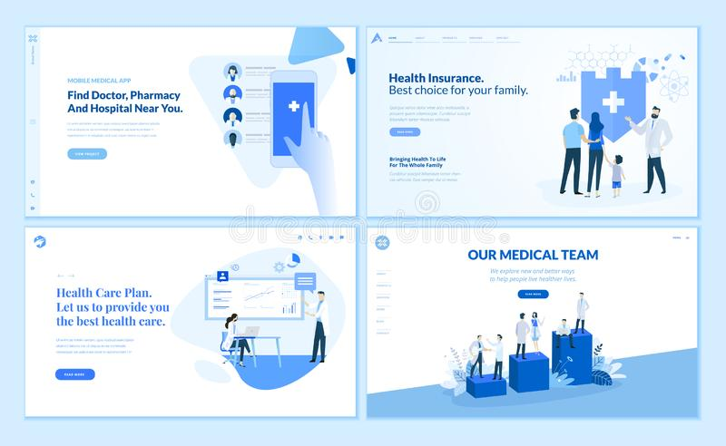 Συλλογή προτύπων σχεδίου ιστοσελίδας της υγειονομικής περίθαλψης διανυσματική απεικόνιση