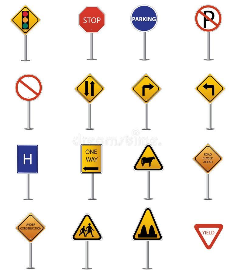 Συλλογή σημαδιών κυκλοφορίας διανυσματική απεικόνιση