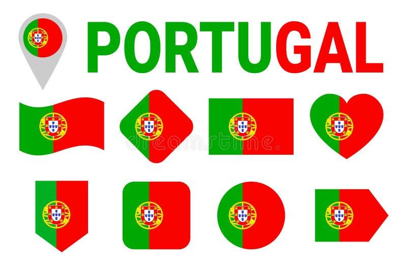 Συλλογή σημαιών της Πορτογαλίας Πορτογαλικές σημαίες καθορισμένες Διανυσματικά οριζόντια απομονωμένα εικονίδια με το κρατικό όνομ ελεύθερη απεικόνιση δικαιώματος