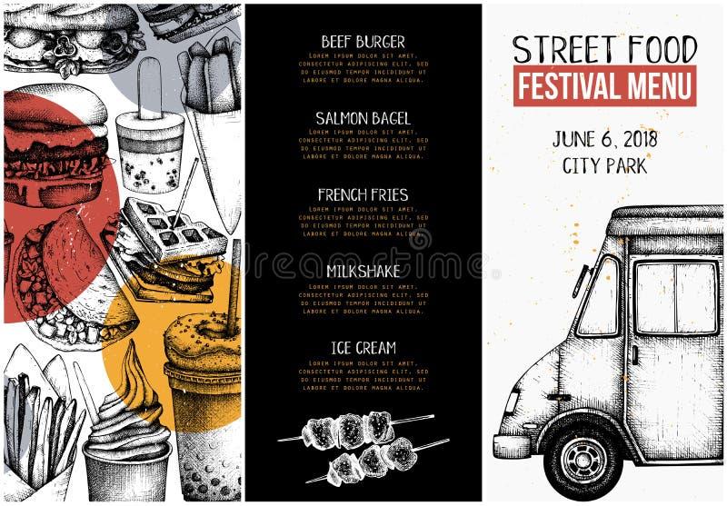 Συλλογή σκίτσων γρήγορου φαγητού για το σχέδιο καφέδων ή εστιατορίων Χαραγμένο πρότυπο βιβλιάριων ύφους Επιλογές φεστιβάλ τροφίμω απεικόνιση αποθεμάτων
