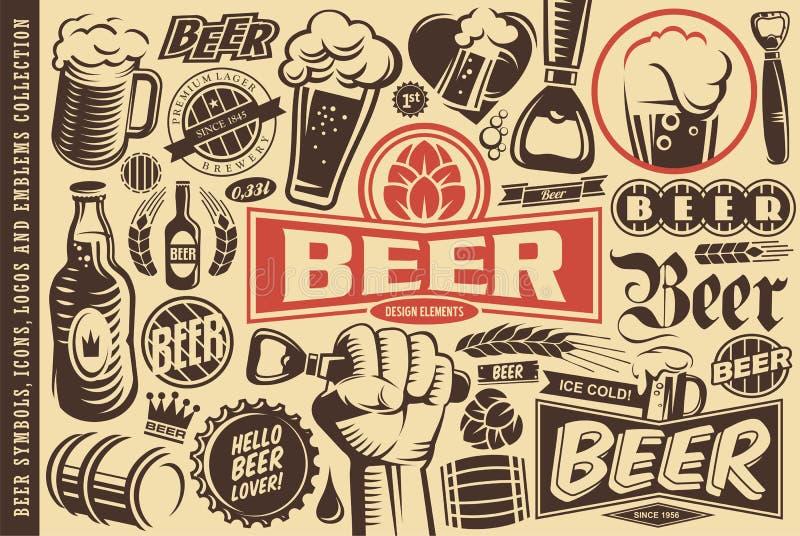 Συλλογή συμβόλων μπύρας, εμβλημάτων, λογότυπων, εικονιδίων και στοιχείων σχεδίου ελεύθερη απεικόνιση δικαιώματος