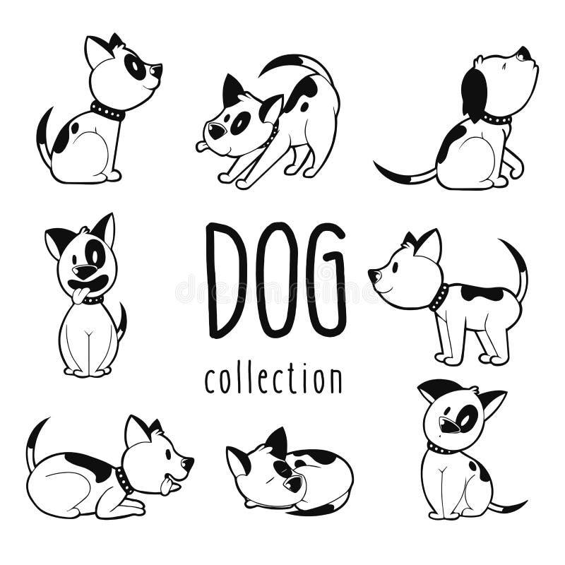 Συλλογή συρμένου του χέρι σκυλιού διανυσματική απεικόνιση οκτώ στη διαφορετική στάσεων διανυσματική απεικόνιση