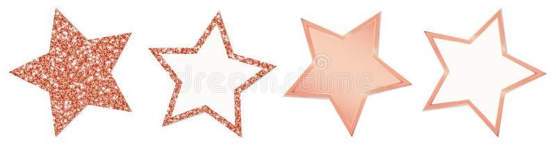 Συλλογή τεσσάρων αστεριών χαλκού που λαμπιρίζουν και που λάμπουν διανυσματική απεικόνιση