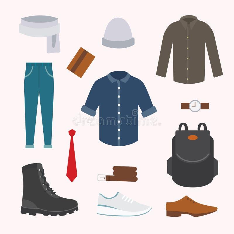 Συλλογή της διάφορης ένδυσης και των παπουτσιών για την κρύα εποχή Το φθινόπωρο των ατόμων κοιτάζει Ιματισμός στο επίπεδο σχέδιο  διανυσματική απεικόνιση