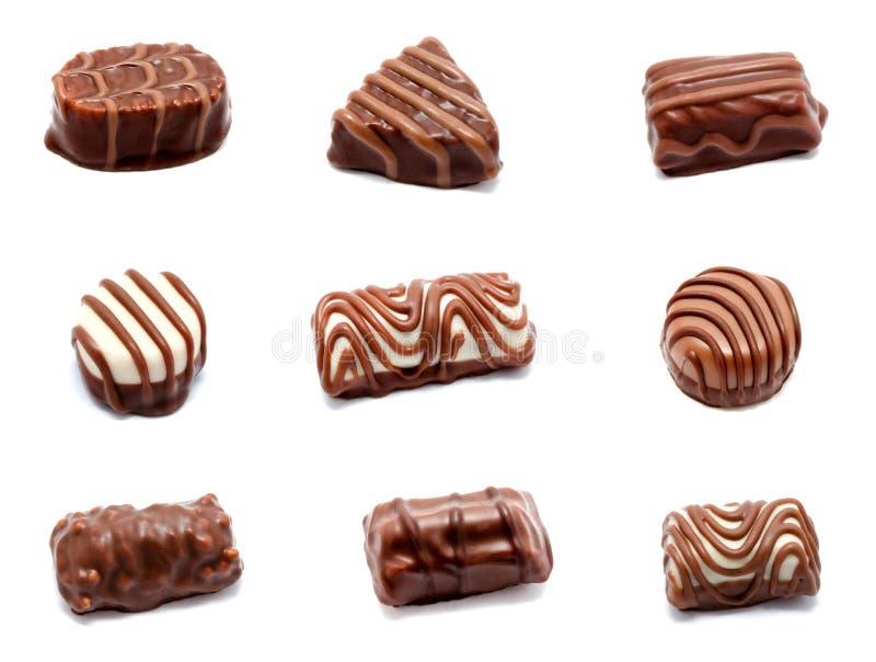 Συλλογή της κατάταξης φωτογραφιών του isol γλυκών καραμελών σοκολάτας στοκ εικόνα