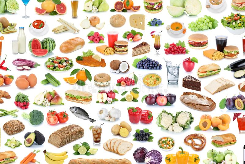 Συλλογή της υγιούς κατανάλωσης φ κολάζ υποβάθρου τροφίμων και ποτών στοκ φωτογραφία με δικαίωμα ελεύθερης χρήσης