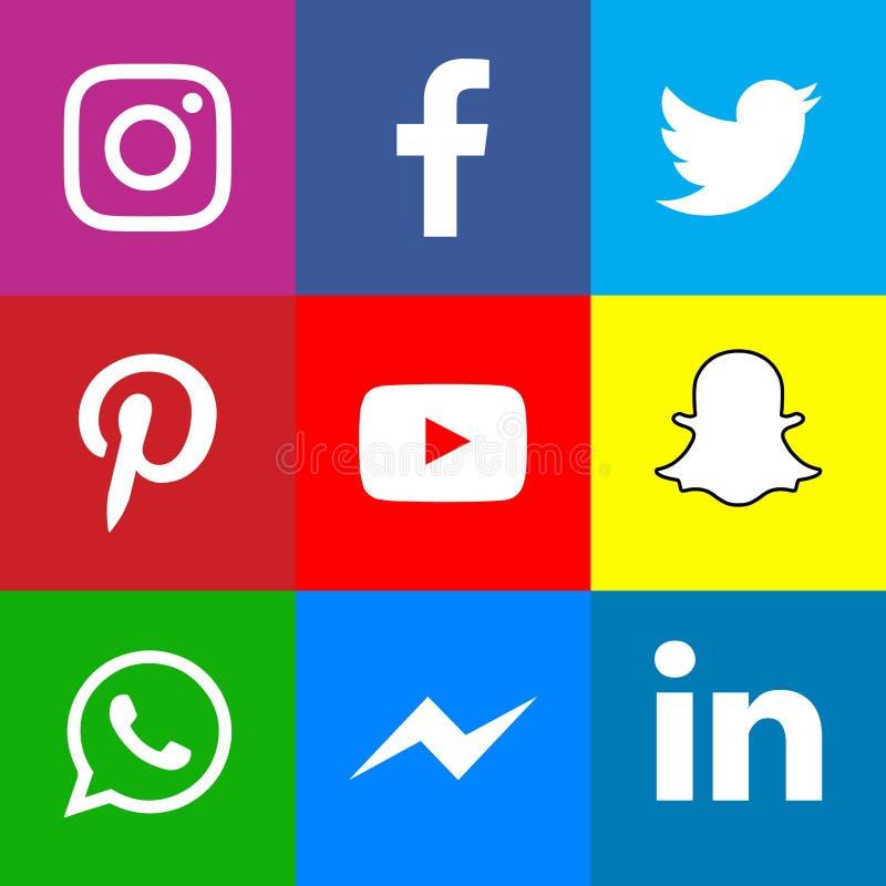 Συλλογή των δημοφιλών κοινωνικών εικονιδίων μέσων